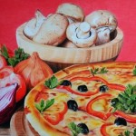 Pizza, mushrooms and onion still life pencil drawing