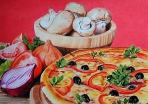 Pizza, mushrooms and onion still life pencil drawing