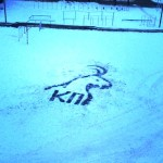 Letters symbolizing something. Painting on the snow