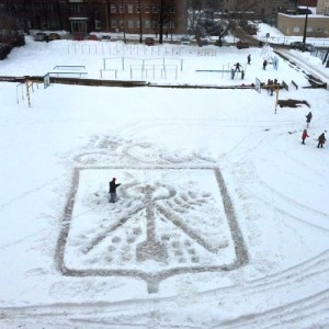 Coat of arms of Izhevsk, the capital city of the Udmurt Republic, Russia. Painting on the snow by Semyon Bukharin