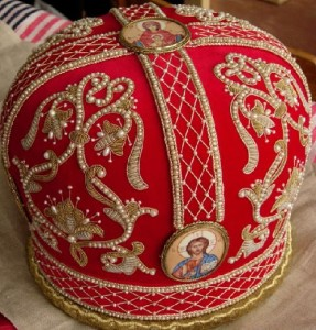 Red color Orthodox mitre (head-dress), Gold embroidery by Ubrus workshop