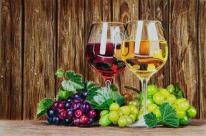 Wine glasses and grapes still life pencil drawing