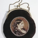Handbag made of velvet with hand embroidery - a female portrait by the French artist Franz Xavier Winterhalter
