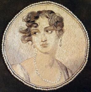 Velvet bag 'Molinari', closeup