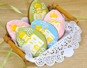 Festive Easter eggs with a picture of Christian churches