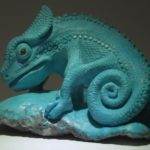 Chameleon. Material - Mongolian turquoise, carnelian eyes