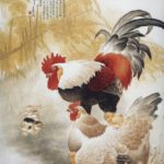 Rooster corresponds to the hieroglyph luck, used in burial ceremonies, which drives away evil spirits