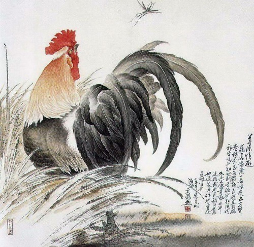 Symbol of 2017 Rooster in painting of Chinese artist