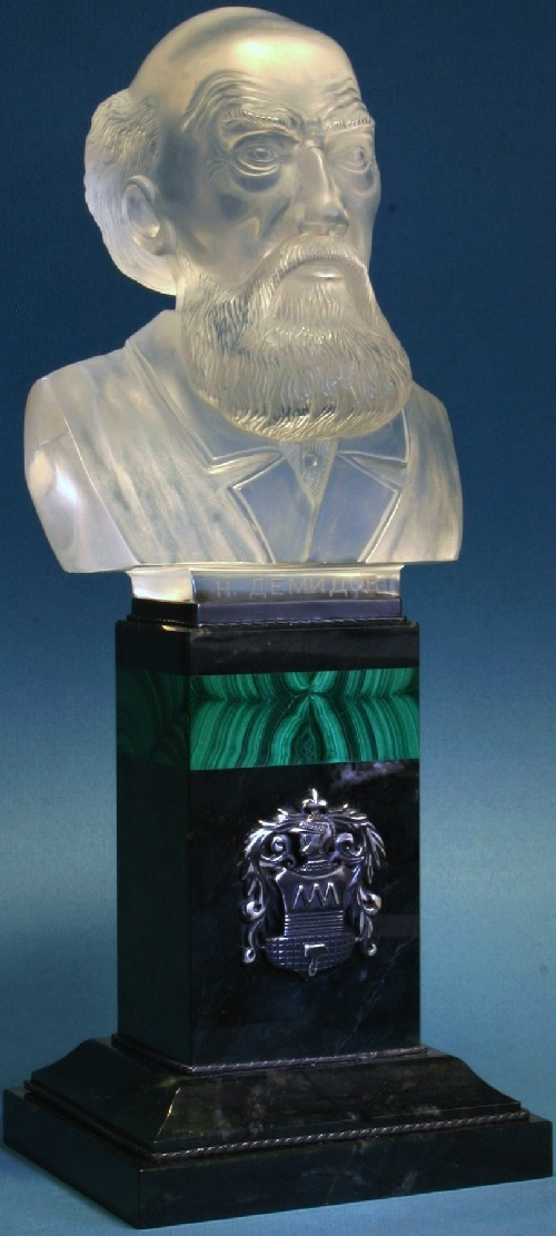 Bust of Nikita Demidov. Materials - quartz, malachite, jasper, silver. Jeweller (metal work) P.Vetrov