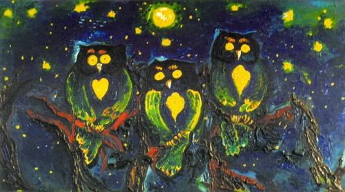 Evening talk. Oil on cardboard. 1997