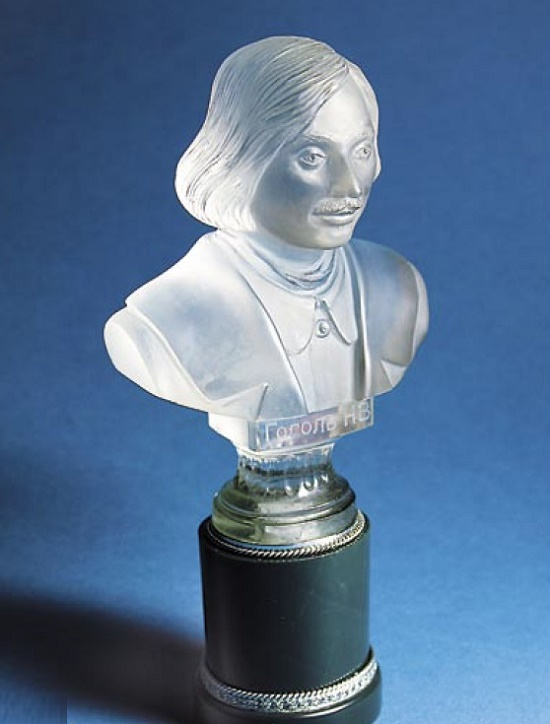 N.V. Gogol bust. Rock crystal, Jasper, Cubic Zirconia, Silver