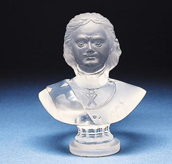 Peter the Great bust. Rock crystal