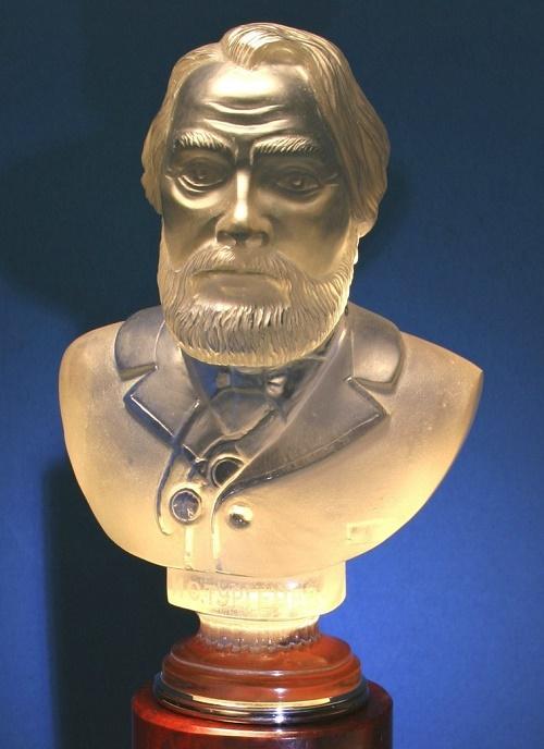 Russian writer Ivan Turgenev. Smoky quartz, jasper, silver