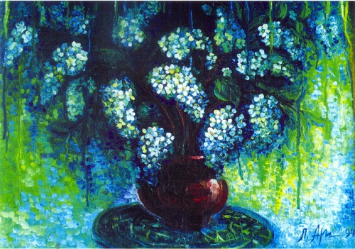 Still life with bird cherry. 1994. Oil on canvas