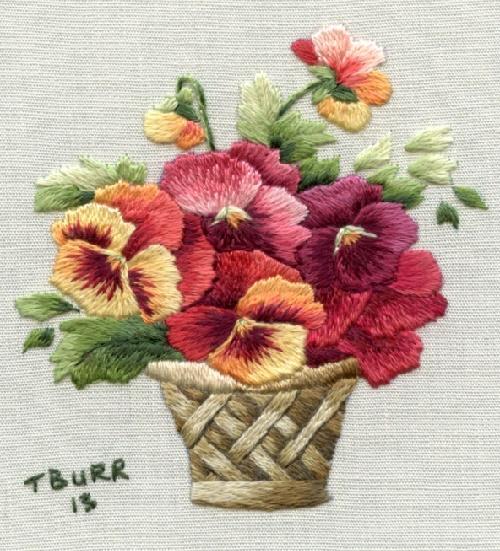 Autumn pansy basket