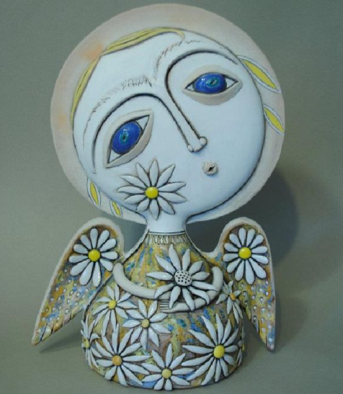 White camomile ceramic angel