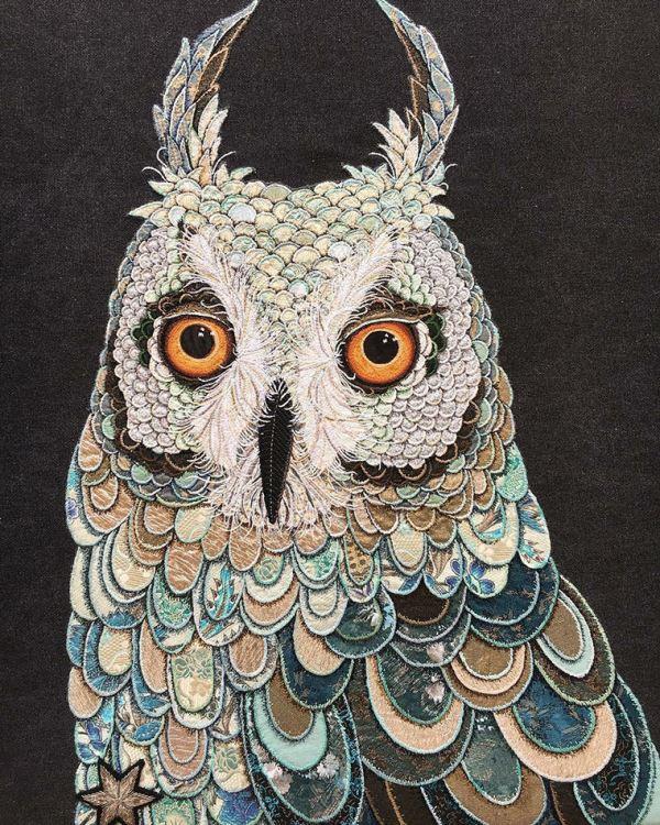 Owl, beautiful textile art