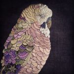 Pink, Gold and Green Budgie