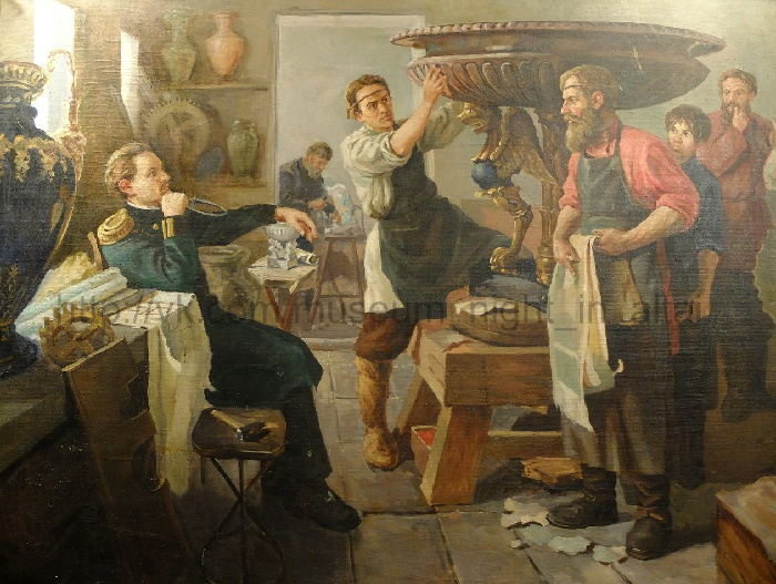 Altai stone-cutters. 1970s. Oil on canvas (a copy of the painting by AL Ganjinsky (1957), kept in the Russian Museum (St. Petersburg). Artist M.F. Zherebtsov