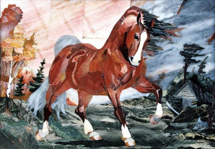 Red horse mosaics
