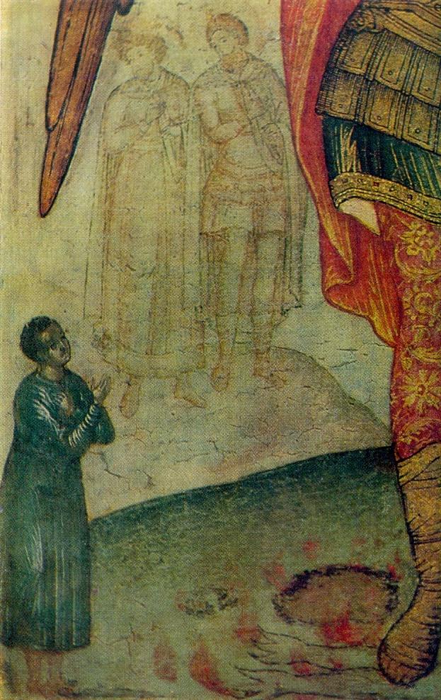 Archangel Michael, trampling the devil. Fragment. 1676. The State Tretyakov Gallery