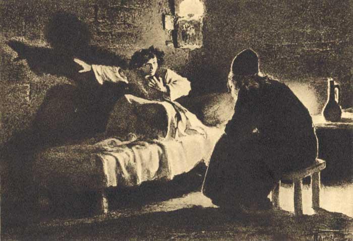 Illustration for the poem by Lermontov Mtsyri