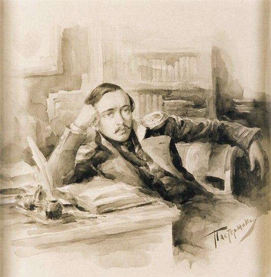 M.Yu. Lermontov. 1891. Paper, sepia