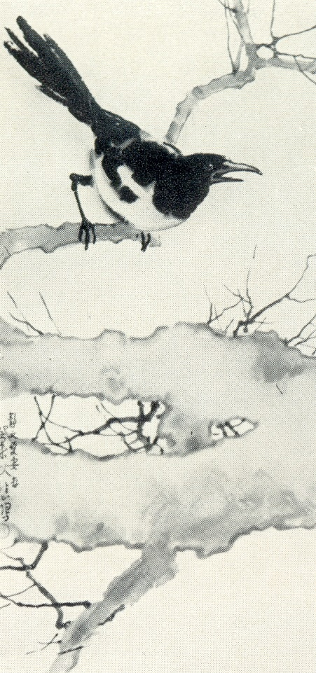 Magpie in the tree. 1943. Ink, mineral paints