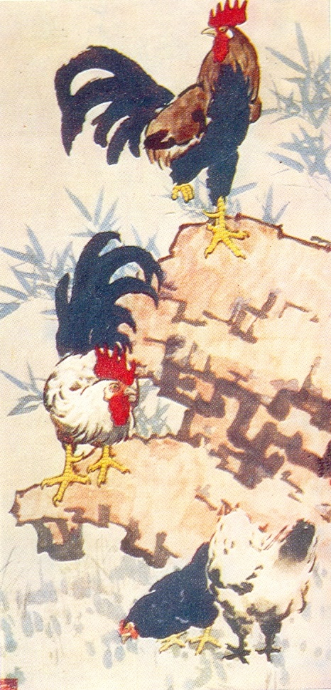 Rooster and chickens. 1948. Ink, mineral paints