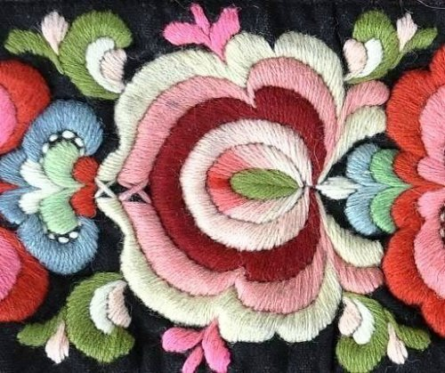 A hand embroidered pattern