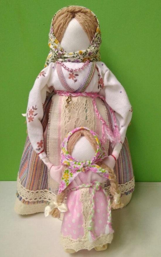 A mother and a daughter, Russian handmade dolls. Slavic faceless folk doll magical power