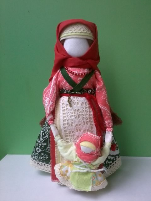Called 'Veduchka' textile faceless doll