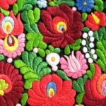 Closeup - colorful folk embroidery