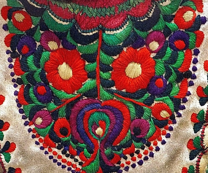 Colorful folk art embroidery Matyo Roses