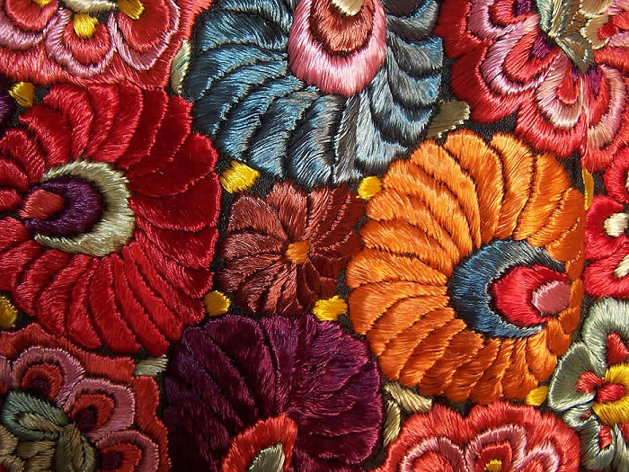 Fragment of Silk thread embroidery
