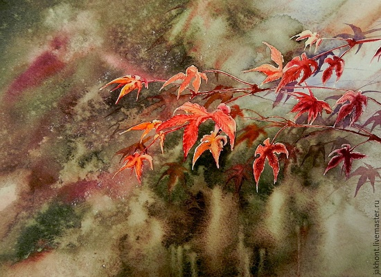 Delicate Watercolor painting by Russian artist Anna