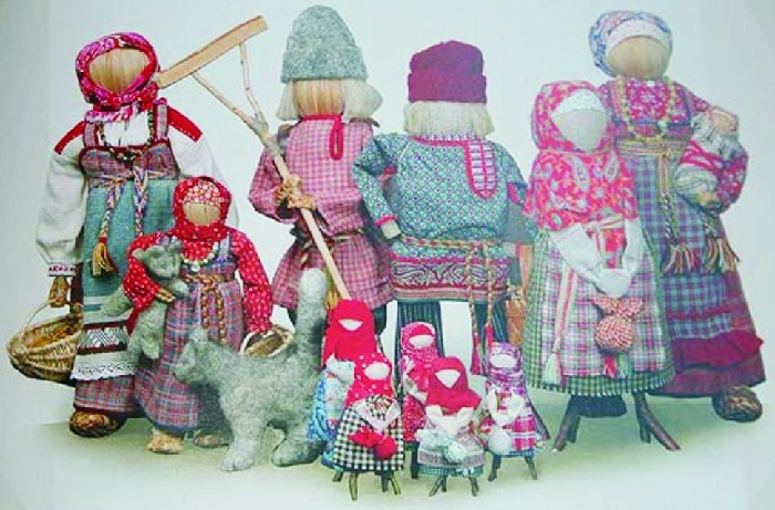 National faceless doll family, Russian hanmade art