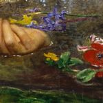Scarlet poppy floating near the right hand, symbolizes grief