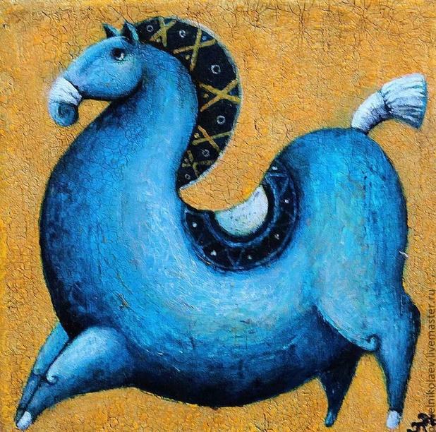 Blue horse, symbol of 2014
