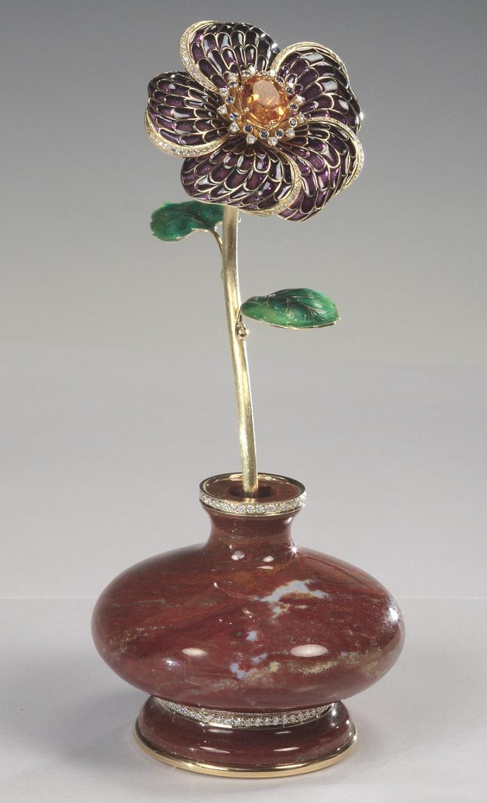 Hibiscus. Table decoration. Gold, diamonds, sapphires, citrine, jasper, enamel