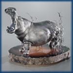 Hippo. Silver, agate
