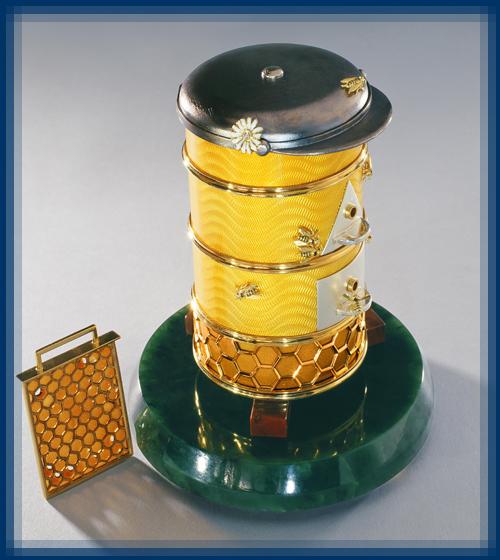 Hive. Silver, gold, diamonds, enamel, jade, jasper, guilloche