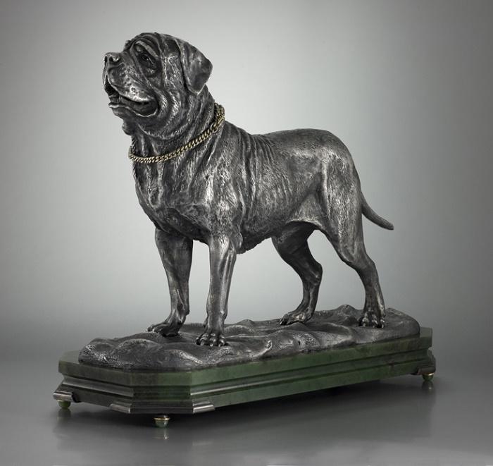 'Mastiff'. Silver, jade