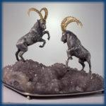 Siberian ibex. Silver, gilding, quartz