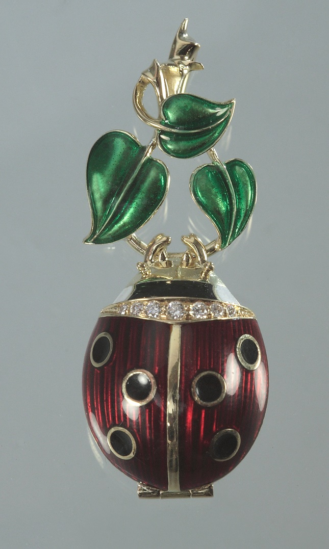 The pendant 'Ladybird'. Gold, diamonds, enamel