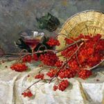 Artist Mikhail Kalinin. Still life with red rowan
