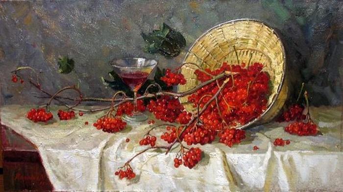Artist Mikhail Kalinin. Still life with red rowan