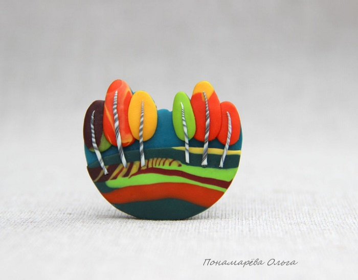 Colorful autumn brooch