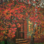 Mikhail Abakumov. Autumn landscape with red rowan