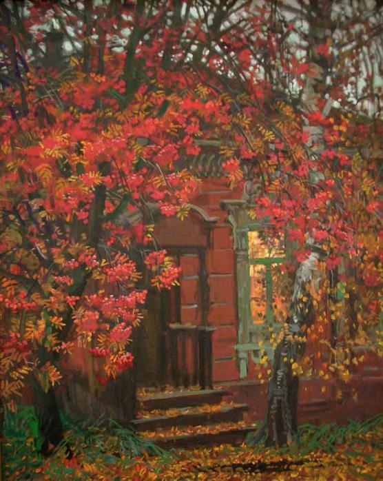 Mikhail Abakumov. Autumn landscape with red rowan
